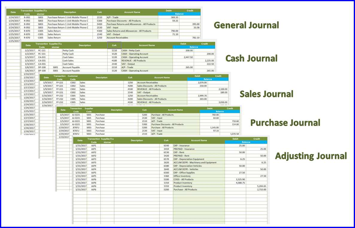 Accounting Template - Journals
