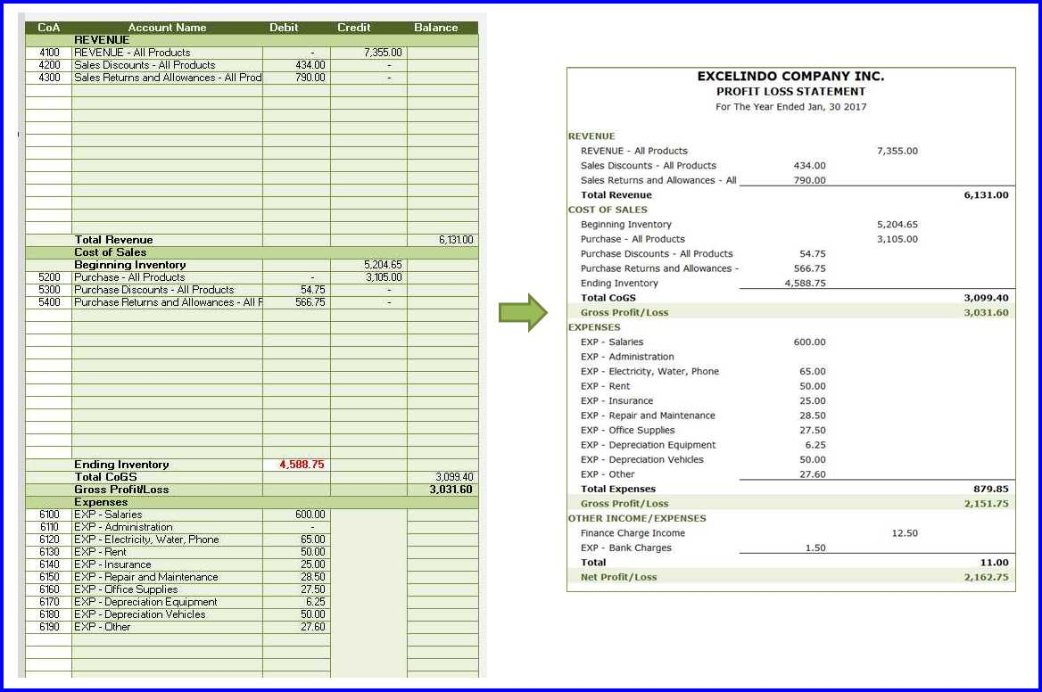 Accounting System Template - Profit and Loss Statement