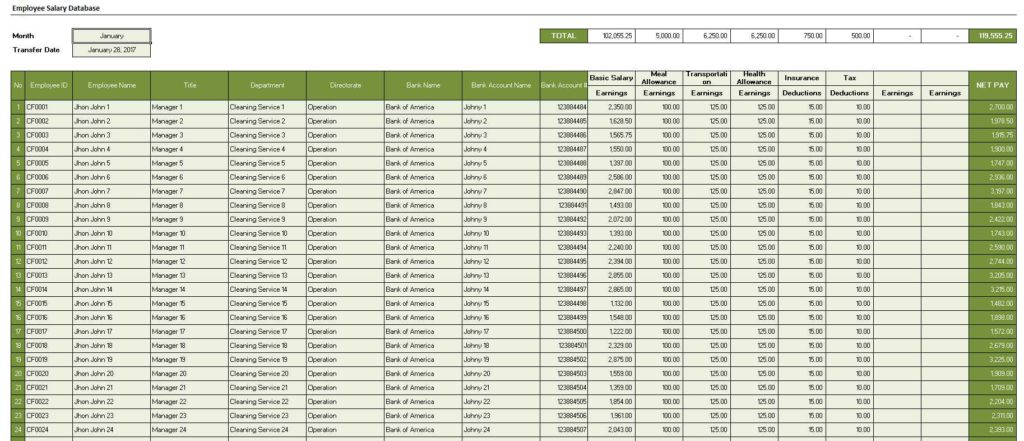 Employee Salary Database Sample