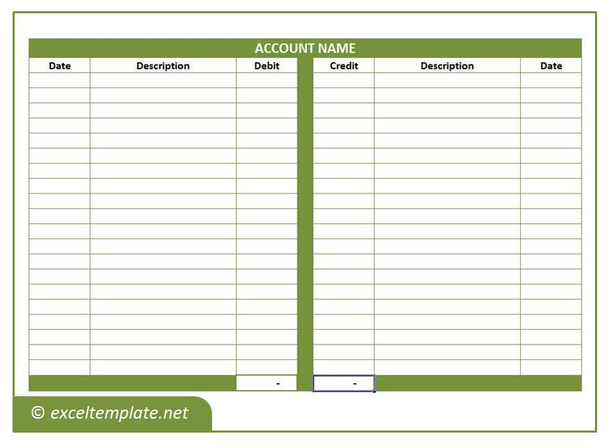 General Ledger T-Account Template
